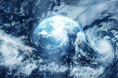 Storma på jorden, sikt från utrymme, original- bild från NASA Royaltyfria Bilder
