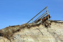 Storma skada på en dyn på ön av Sylt Arkivbilder
