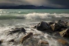 Stormachtig Meer Pukaki, Nieuw Zeeland Stock Foto's