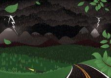 Stormachtig nachtlandschap Royalty-vrije Stock Afbeelding