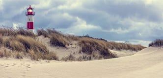 Stormachtig Weer - Vuurtoren op het eiland Sylt Royalty-vrije Stock Foto's