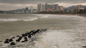 Stormachtige de Overzeese Tijdtijdspanne van Nha Trang Vietnam HD stock footage