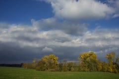 Stormachtige donkere wolken over de bomen en het gebied De dalingsscène Stock Foto's