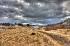 Stormachtige HDR-scène van IJsland Stock Afbeeldingen