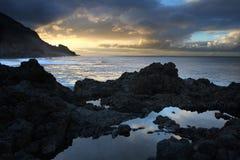 Stormachtige kust, Atlantische Oceaan, Kanarie Royalty-vrije Stock Foto
