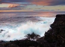 Stormachtige oceaan, Atlantische Oceaan, Kanarie Stock Foto's
