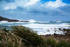 Stormachtige oceaan en macht van aard Stock Afbeelding