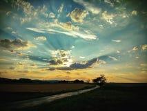 Stormen är kommande med solnedgången /5 royaltyfri fotografi