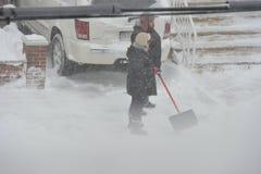 Stormen av snö Juno Arkivfoton