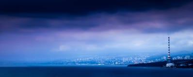 Stormen i staden Fotografering för Bildbyråer