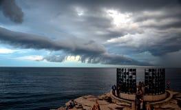 Stormen uppstod över Sydney under den offentliga utställningen arkivfoto