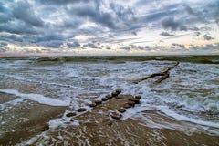 Stormflood at the Baltic Sea stock photography