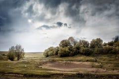 Stormig himmel i sommaren Fält och träd under dålig weather_ Royaltyfri Fotografi