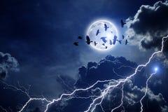 Stormig sky, flock av ravens stock illustrationer