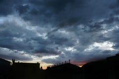 Stormig solnedgång 6 Arkivbilder