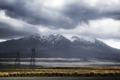 Stormiga moln över Mt Ruapehu Arkivfoto