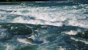 Stormiga Niagara River flödar till vattenfallet Vattenskum på forsarna arkivfilmer