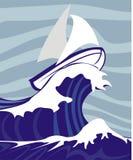 stormigt seglinghav stock illustrationer