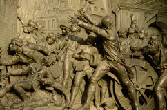 Storming of the Bastille. Detail of bronze plaque of the statue of Marianne by Leopold Morice at Place de la Republique, Paris France devoted to the Third Stock Images