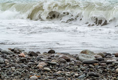 Storming sea. And pebbly shore Stock Images