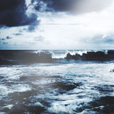 Storming Waves Seascape Natural Disaster Concept Royalty Free Stock Images