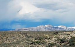 Stormmoln över den mono sjön och berg Arkivfoton