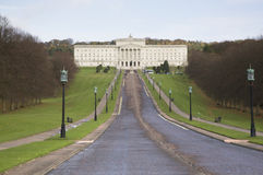 Stormont building. Long driveway receding with Stormont parliament building in background, Belfast, Northern Ireland stock photo