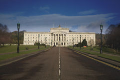 Stormont building. Exterior of Stormont building with long road or driveway in foreground, Belfast, Northern Ireland stock image