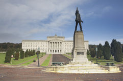 Stormont building. Scenic view of Stormont building with Edward Carson statue in foreground, Belfast, Northern Ireland stock images
