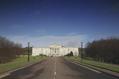 Stormont Parliament building. With long driveway in foreground, Belfast, Northern Ireland royalty free stock image