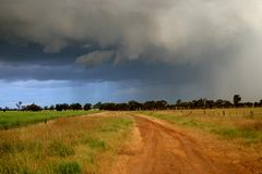 Storms. Cyclone like storms recently struck our District causing extensive damage to wheat crops and buildings Stock Photo