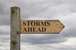 Storms Ahead Wooden Sign Stock Photo