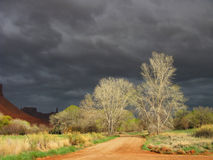 Storms a Brewing. Several sun lite deciduous trees stand on the sides of a rural gravel road with a very dark ominous sky as a backdrop. Location: Castle Valley royalty free stock images