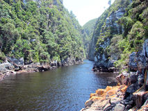 Storms River Mouth. Taken from suspension bridge at the mouth of the river Royalty Free Stock Photo
