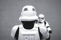 Stormtrooper Father and Son Family Portrait Royalty Free Stock Photos