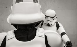 Stormtrooper Father and Son Family Portrait Royalty Free Stock Photography