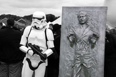 Stormtrooper and Han Solo. Starwars Stormtrooper and Han solo frozen in carbonite on display at the Kent Sci-Fi event. Picture is good for shows, fans and Royalty Free Stock Photography