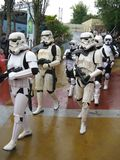 Stormtroopers. A group of Star Wars Stormtroopers in different uniforms (a deathstar uniform, a pair of Tatooine uniforms, and some Endor's moon's uniforms can Stock Photos