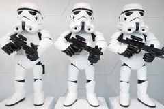 Stormtroopers in the windows of Hobbies toys store Stock Photos
