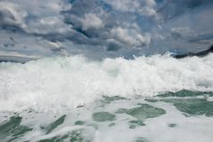 Stormy adriatic sea. In Baska, Croatia Royalty Free Stock Photos