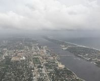 stormy aerial view of South Florida coast before hurricane Matth