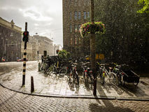 A stormy afternoon in Amsterdam, the Netherlands. Old Amsterdam street during an afternoon summer storm taken with an iPhone Royalty Free Stock Photos