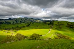 Stormy afternoon over Mount Diablo. A cloudy afternoon along the Diablo Foothills and the China Wall royalty free stock photo