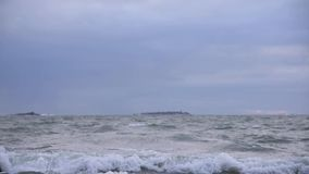 Stormy Baltic Sea in early January winter weather in slow motion stock video footage