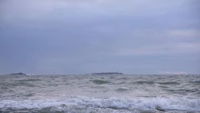Stormy Baltic Sea in early January winter weather stock video