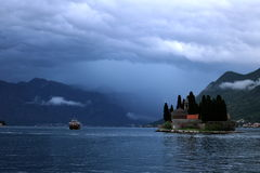 Stormy on the Bay Of Kotor. Taken from R.K.C. Gospa od Škrpjela Our Lady of the Rocks overlooking the bay of Kotor Stock Photos