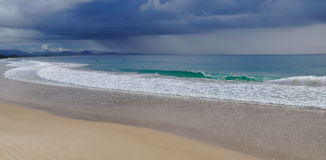 Stormy beach. A storm over the Pacific Ocean from Byron Bay, Australia Royalty Free Stock Photography