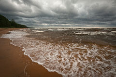 Stormy beach. By Baltic sea royalty free stock photography