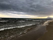 Stormy beach landscape. Stormy morning on a beach in Alicante stock photos