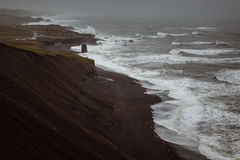 Stormy beach. In the south of Iceland royalty free stock photos